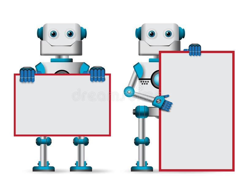 Robot vector characters holding blank whiteboard for text. Robotic mascot for technology design presentation isolated in white vector illustration royalty free illustration