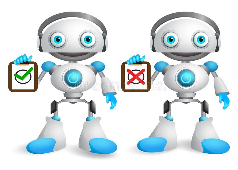 Robot vector characters set. Friendly robotic android holding white board stock illustration