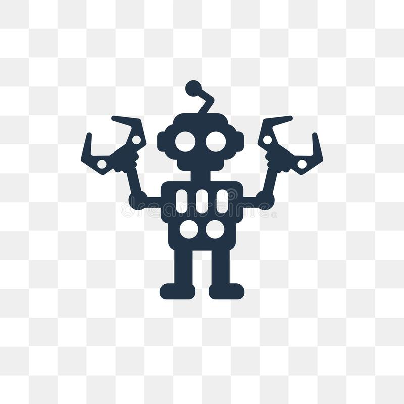 Robot vector icon isolated on transparent background, Robot tra royalty free illustration