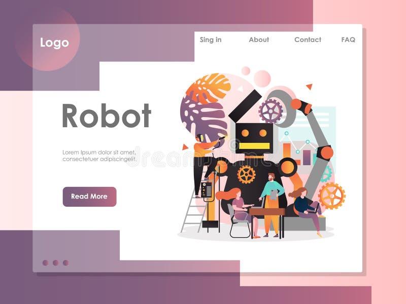 Robot vector website landing page design template. Robot vector website template, web page and landing page design for website and mobile site development stock illustration