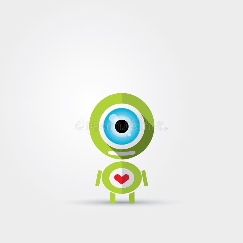 Robot verde sveglio del personaggio dei cartoni animati