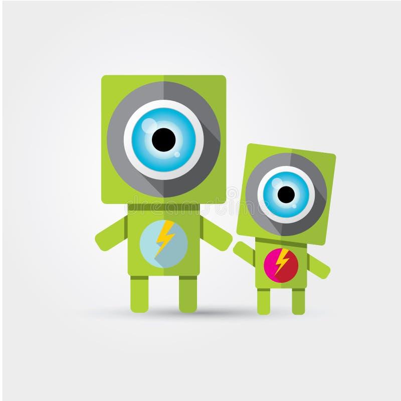 Robot verde sveglio del personaggio dei cartoni animati illustrazione vettoriale