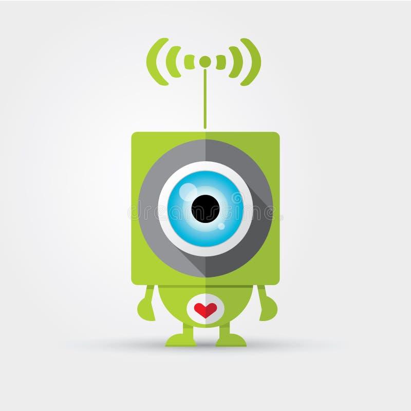 Robot verde sveglio del personaggio dei cartoni animati royalty illustrazione gratis