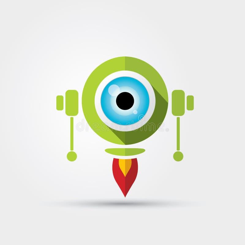 Robot vert mignon de personnage de dessin animé illustration stock