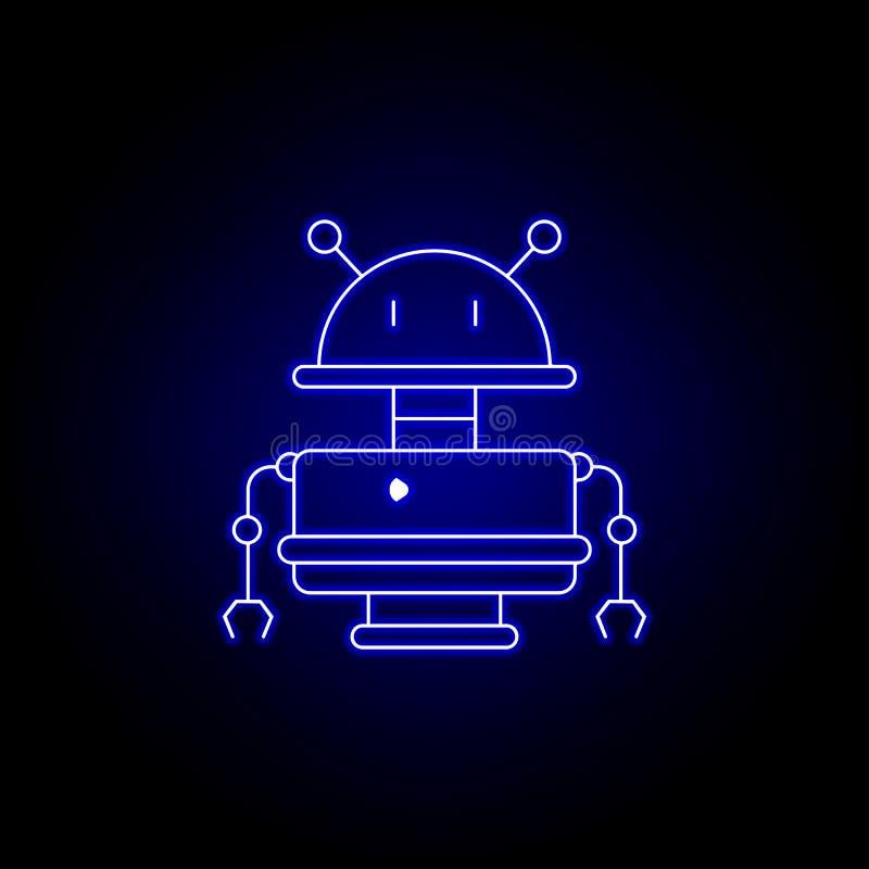 robot, vieja línea icono del robot en estilo de neón azul Las muestras y los s?mbolos se pueden utilizar para la web, logotipo, a ilustración del vector