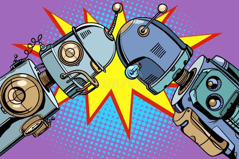 Robot viejo contra nuevos ejemplos del vintage stock de ilustración