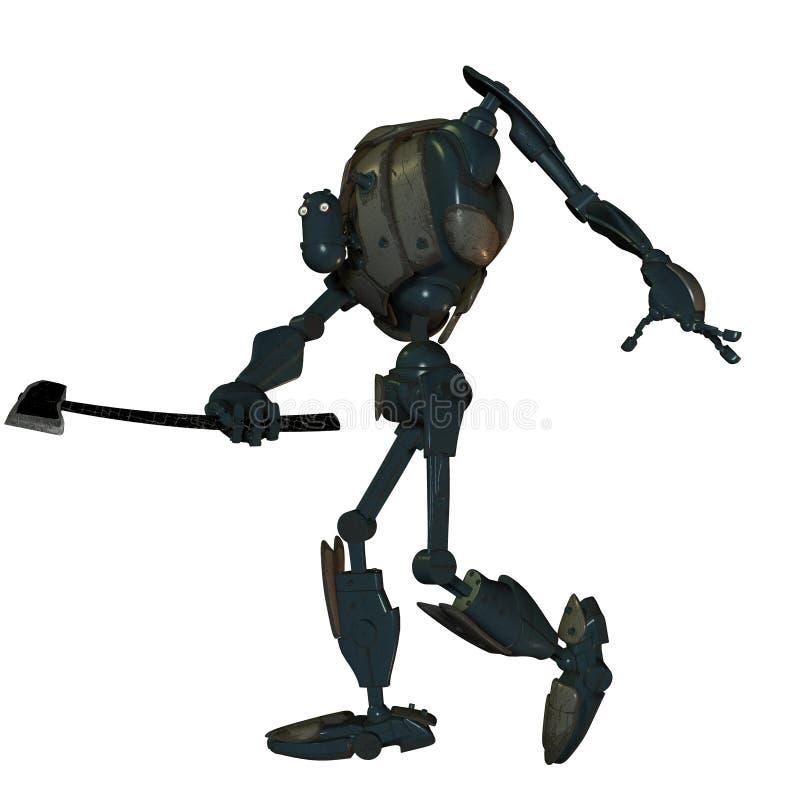Robot viejo de la batalla con un hacha libre illustration