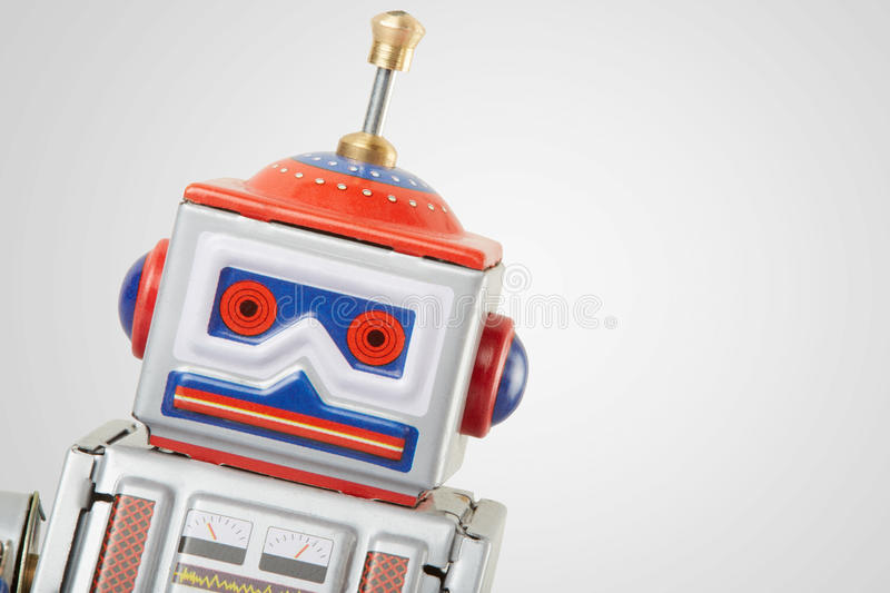 Robot vintage toy close up stock images