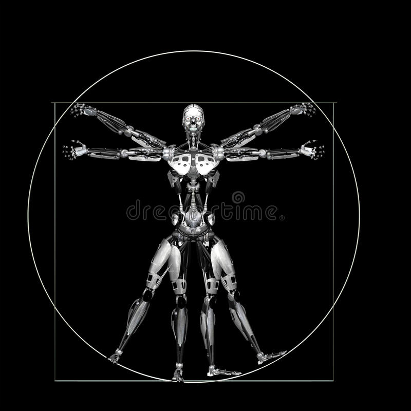 Robot - Vitruvian - srebro royalty ilustracja