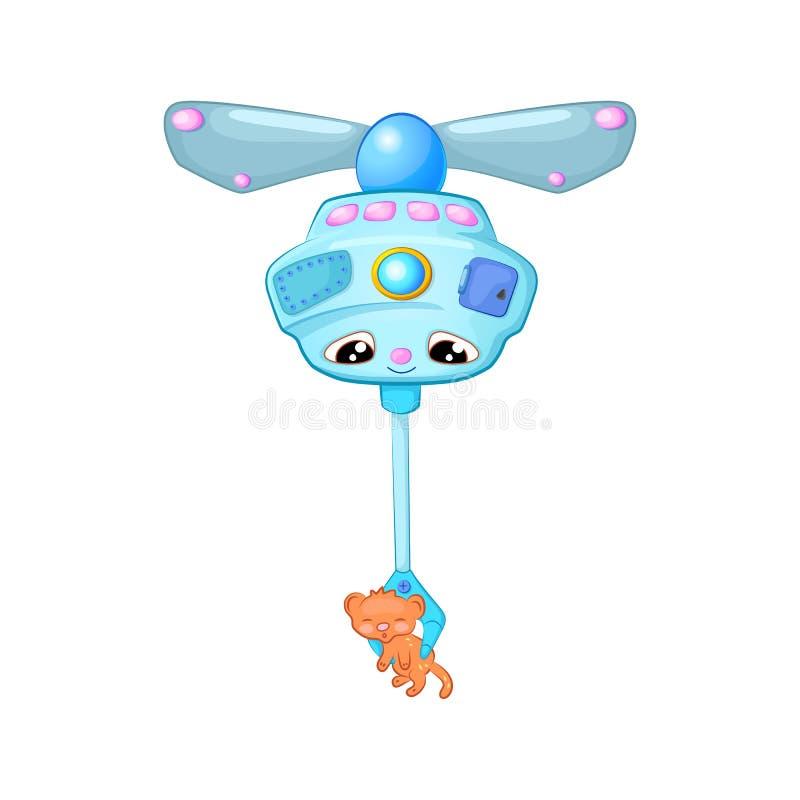 Robot volante sveglio che porta gattino arancio, illustrazione del fumetto su fondo bianco Carattere del fuco o dello straniero illustrazione di stock
