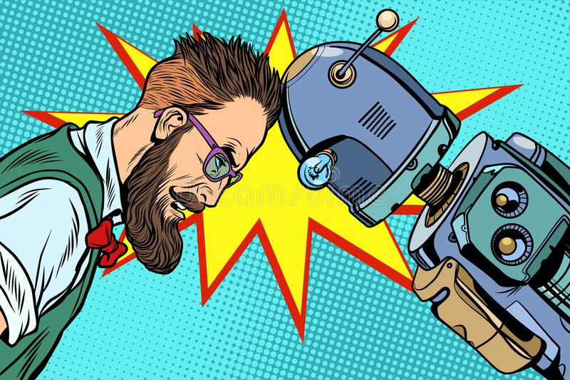 Robot vs human, humanity and technology. Pop art retro vector vintage illustrations vector illustration