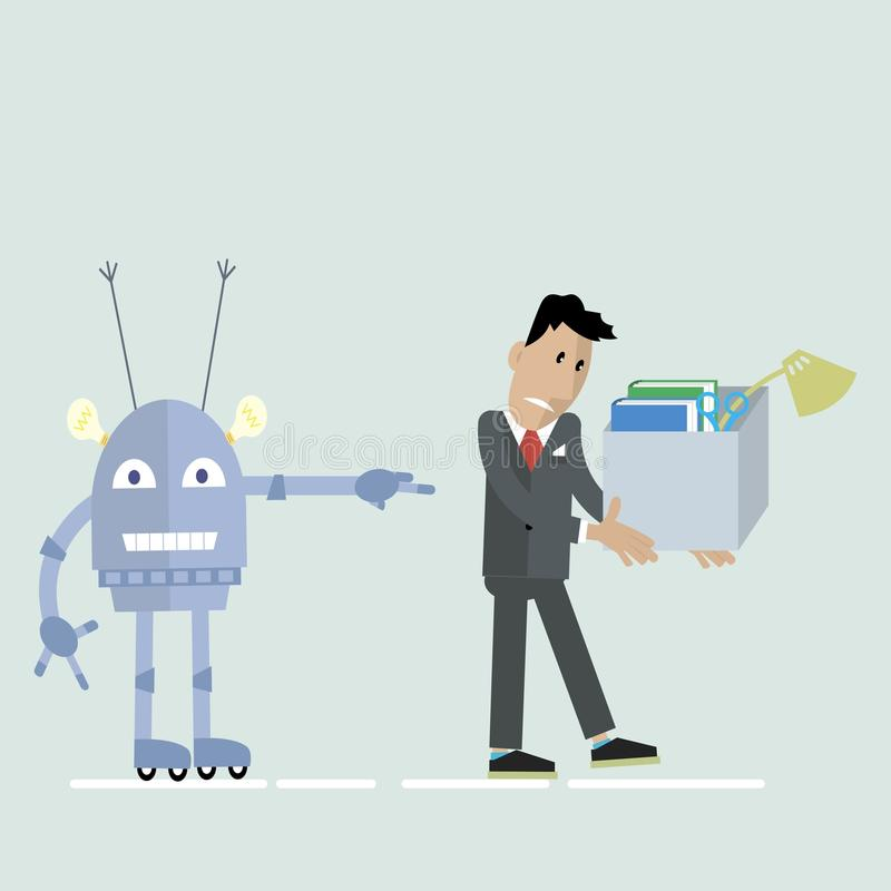 Robot vs mężczyzna clipart ilustracji