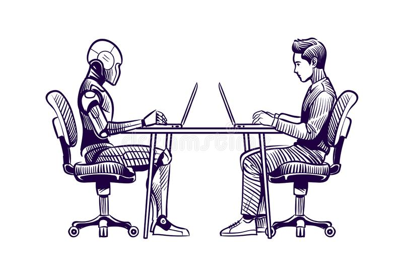 Robot vs man. Human humanoid robot work with laptops at desk. Artificial intelligence, employees replacement sketch stock illustration