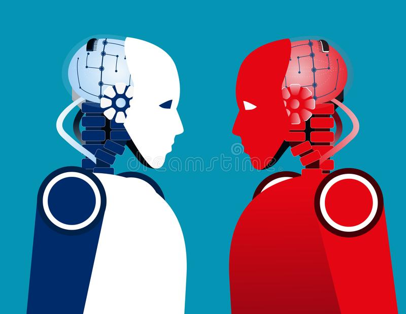 Robot vs robot Pojęcie technologii wektoru ilustracja royalty ilustracja