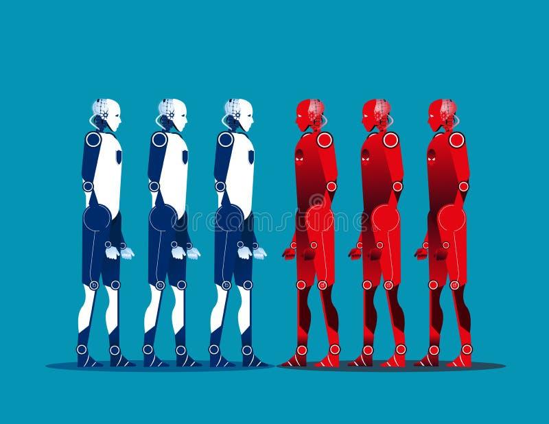 Robot vs robot Pojęcie technologii wektoru ilustracja ilustracji