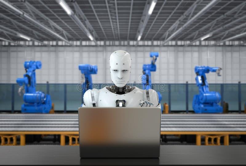 Robot w fabryce ilustracji
