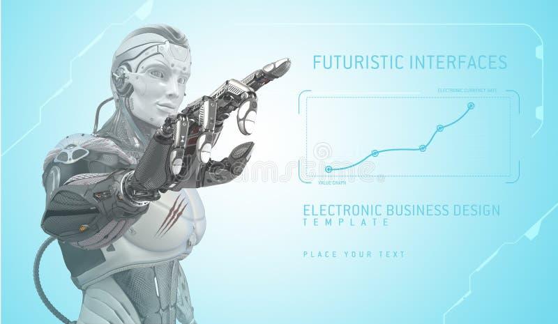 Robot w Futurystycznym projekcie pracuje z UI obraz stock