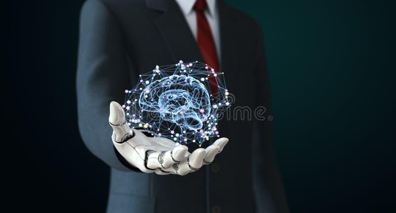 Robot w kostiumu holdng sztucznej inteligenci ilustracji