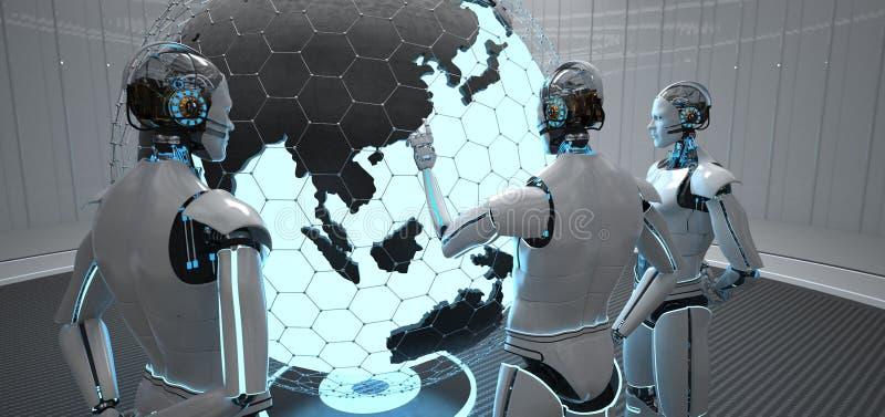 3 robot?w kula ziemska Chiny royalty ilustracja