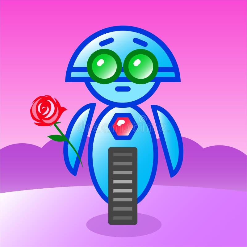 Robot w miłości z różą ilustracji