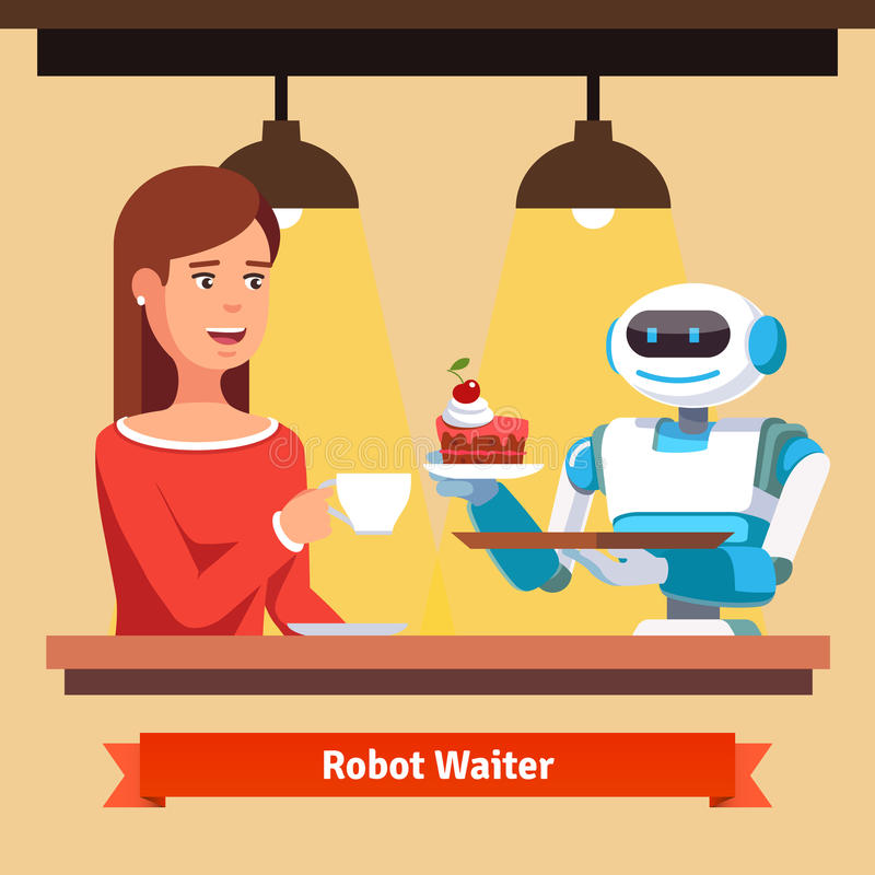Robot waiter serving coffee and cake. Helper smiling to a attractive customer woman. Flat style vector illustration on yellow background royalty free illustration
