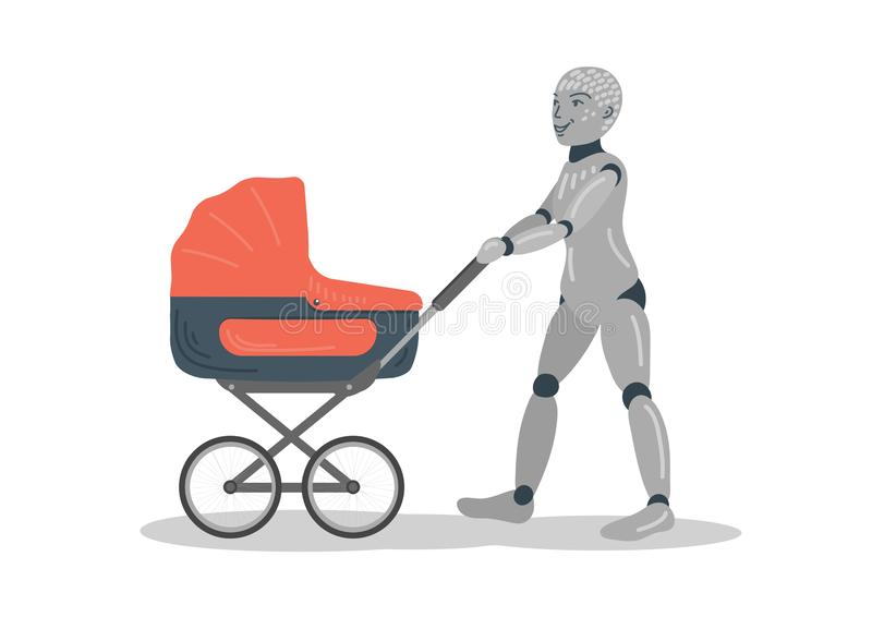 Robot walking with baby carriage royalty free illustration