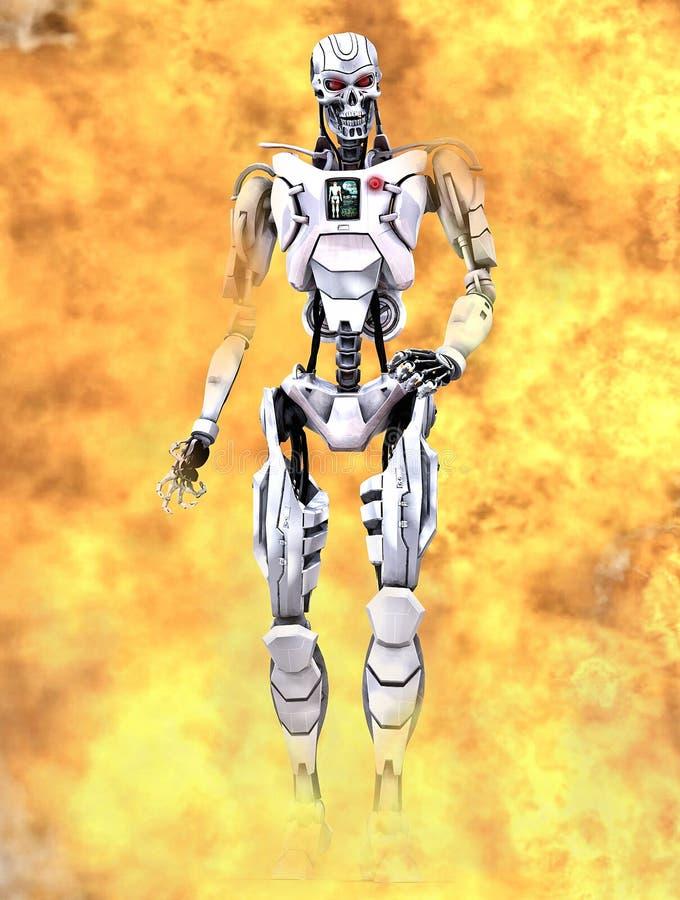 Robot walking through flames - The terminator vector illustration