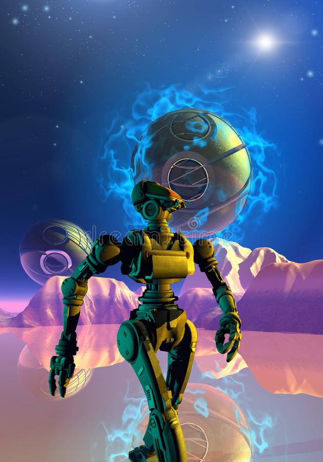 Robot is walking on an unknown planet stock illustration