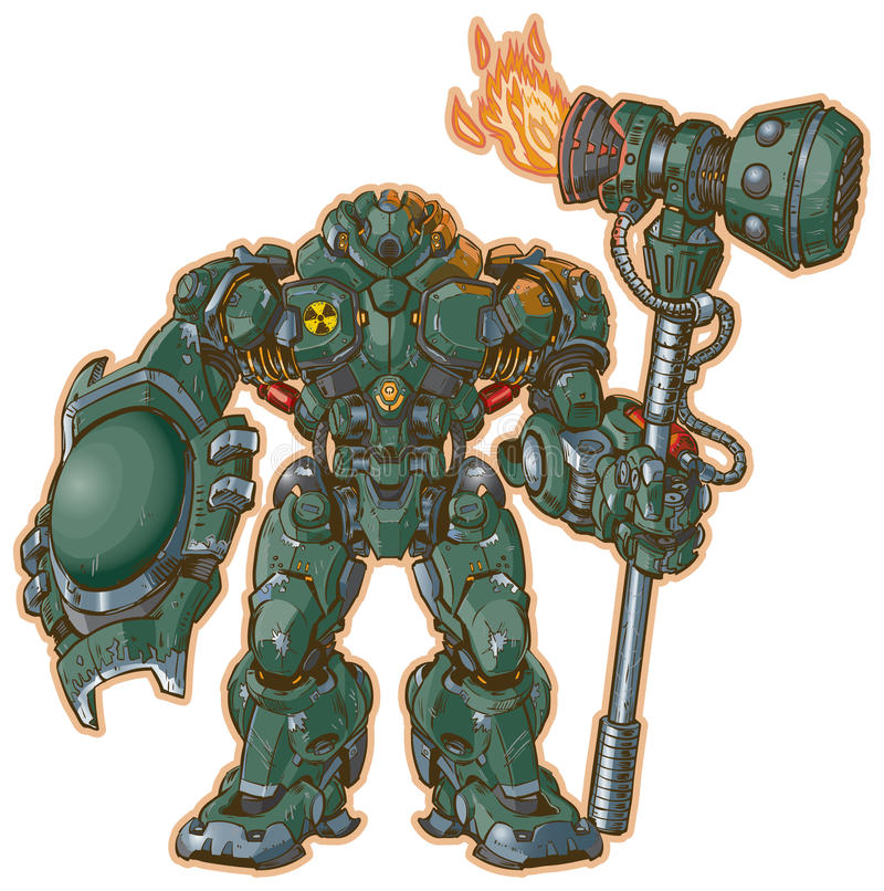 Robot warrior with shield and hammer vector illustration