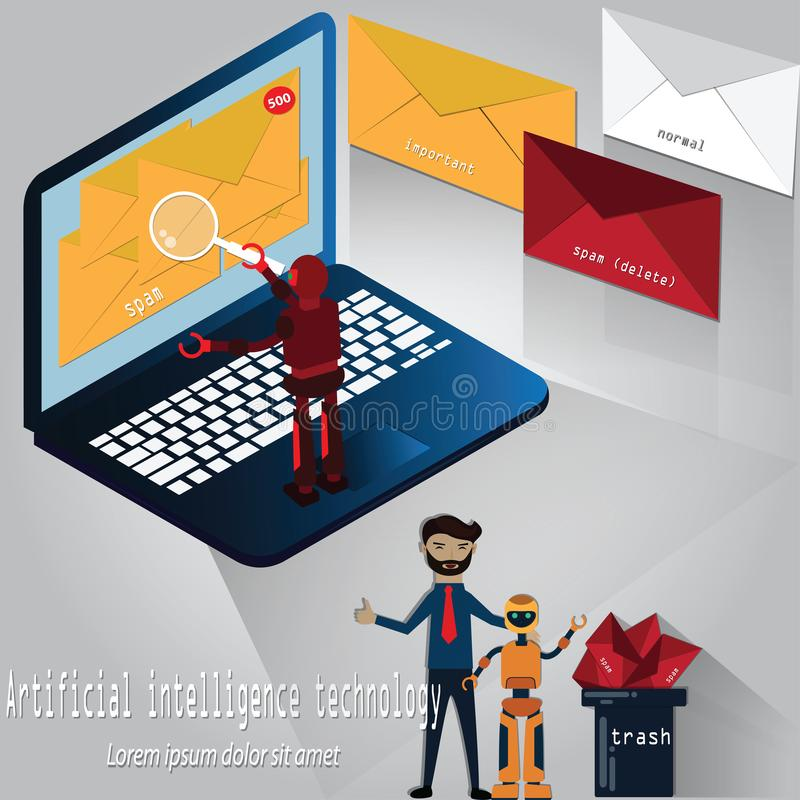 Robot was analyzing an e-mails and separated for 3 types, important, normal or spam mail,Artificial intelligence technology,vector. Illustrator royalty free illustration