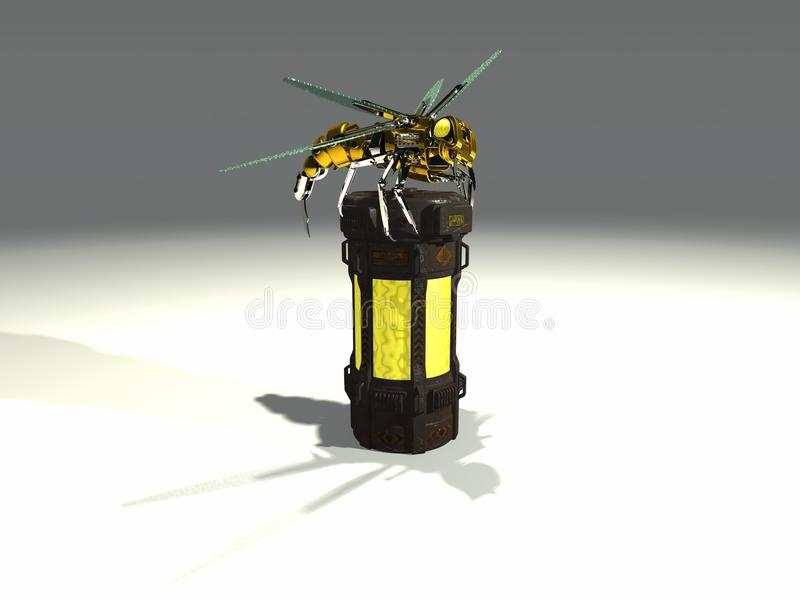 Robot wasp sits on container vector illustration