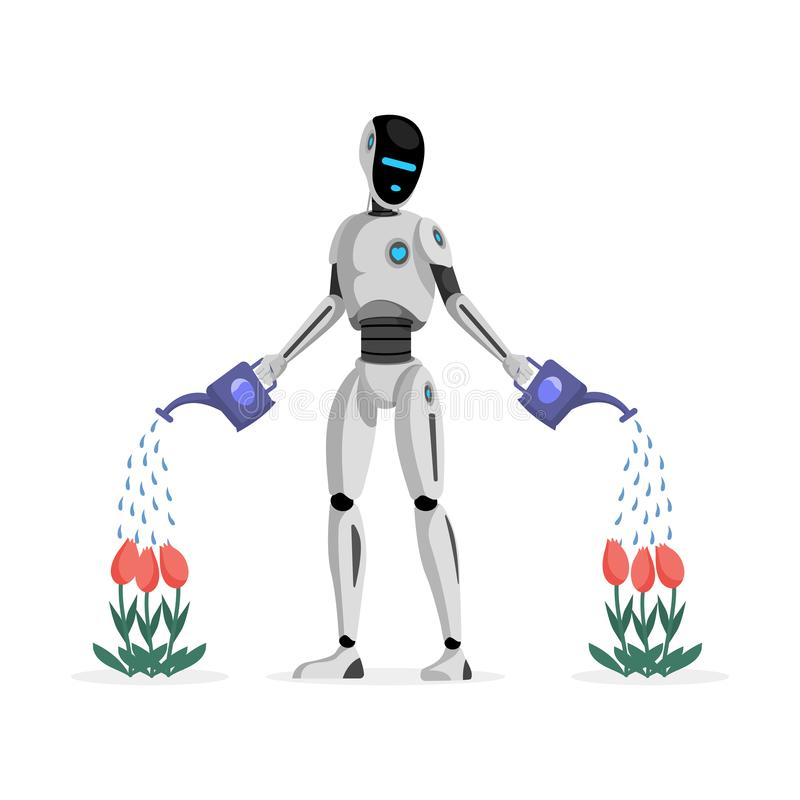 Robot watering flowers flat vector illustration. Mechanical gardener, futuristic garden assistant character. Artificial. Robot watering flowers flat vector vector illustration