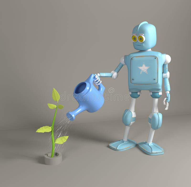 The robot is watering the sprout 3d, render. The retro robot is watering the sprout 3d, render royalty free stock photo