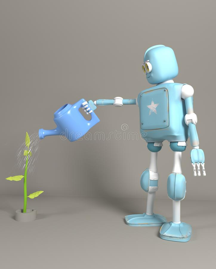 The robot is watering the sprout 3d, render. The retro robot is watering the sprout 3d, render royalty free stock image