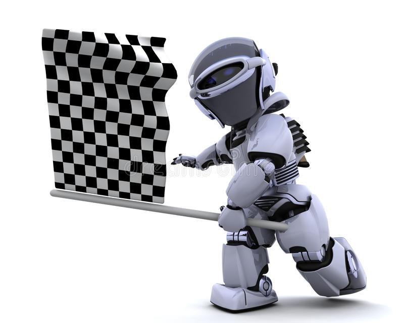 Robot waving chequered flag royalty free illustration
