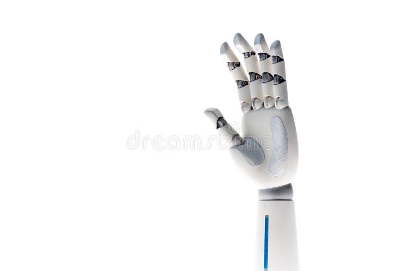 robot waving hand isolated royalty free illustration