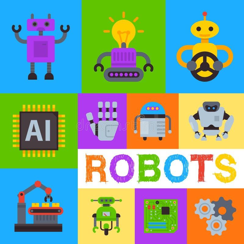 Robot waving, robotic dog banner, card, poster vector illustration. Futuristic artificial intelligence technology royalty free illustration