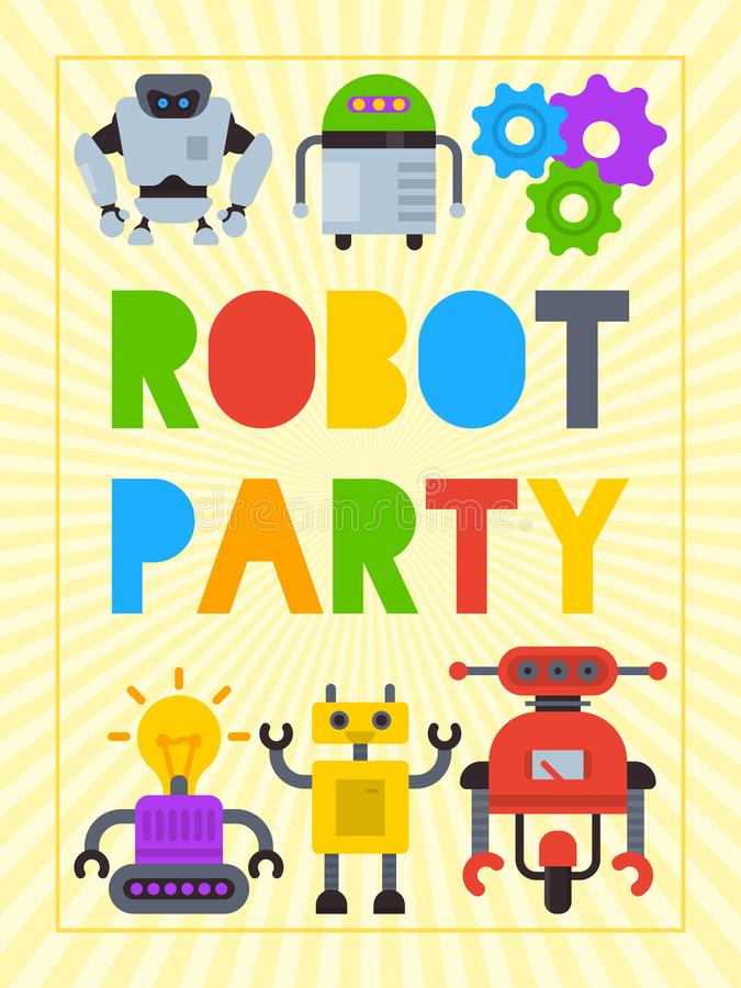 Robot waving, robotic dog friend design for kid party poster vector illustration. Happy birthday party welcome royalty free illustration