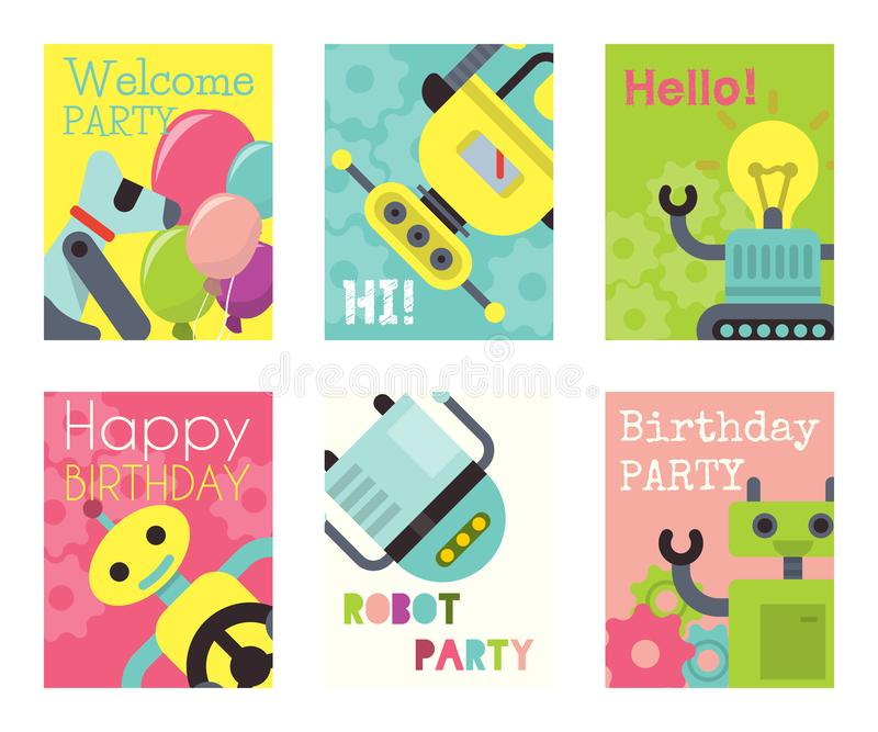 Robot waving, robotic dog friend design for kid party set of banners, cards vector illustration. Happy birthday party stock illustration