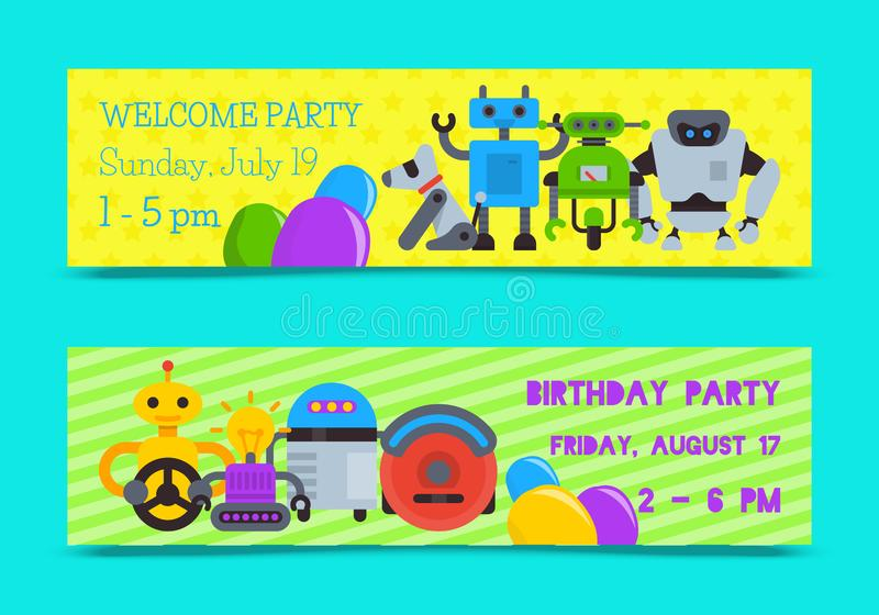 Robot waving with robotic dog friend design for kid party set of banners vector illustration. Birthday party welcome stock illustration