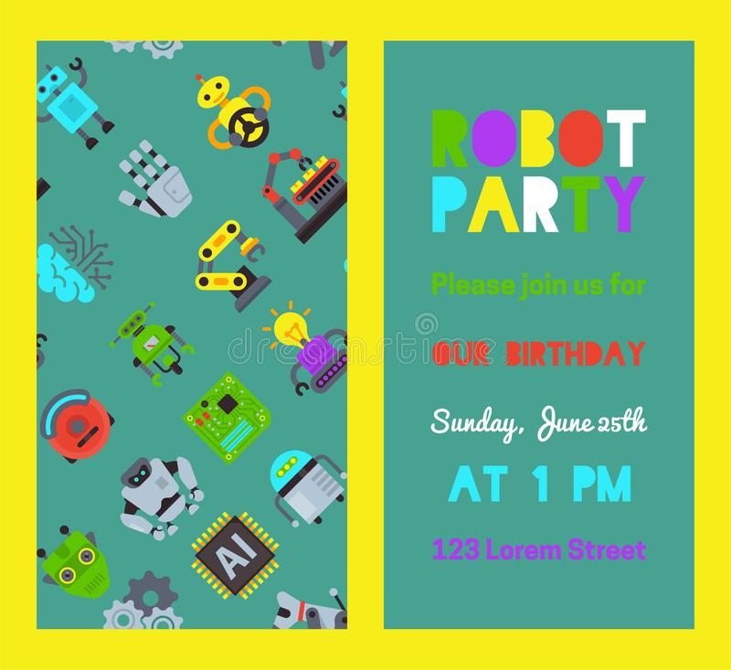 Robot waving, robotic dog friend design for kid party set of banners vector illustration. Birthday party welcome royalty free illustration