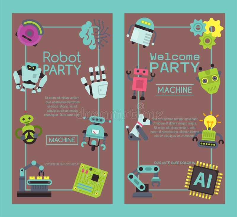 Robot waving, robotic dog friend design for kid party set of banners vector illustration. Birthday party welcome stock illustration
