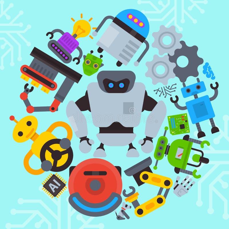 Robot waving, robotic dog, hand round pattern vector illustration. Futuristic artificial intelligence technology. Robot waving, robotic dog roud pattern vector stock illustration