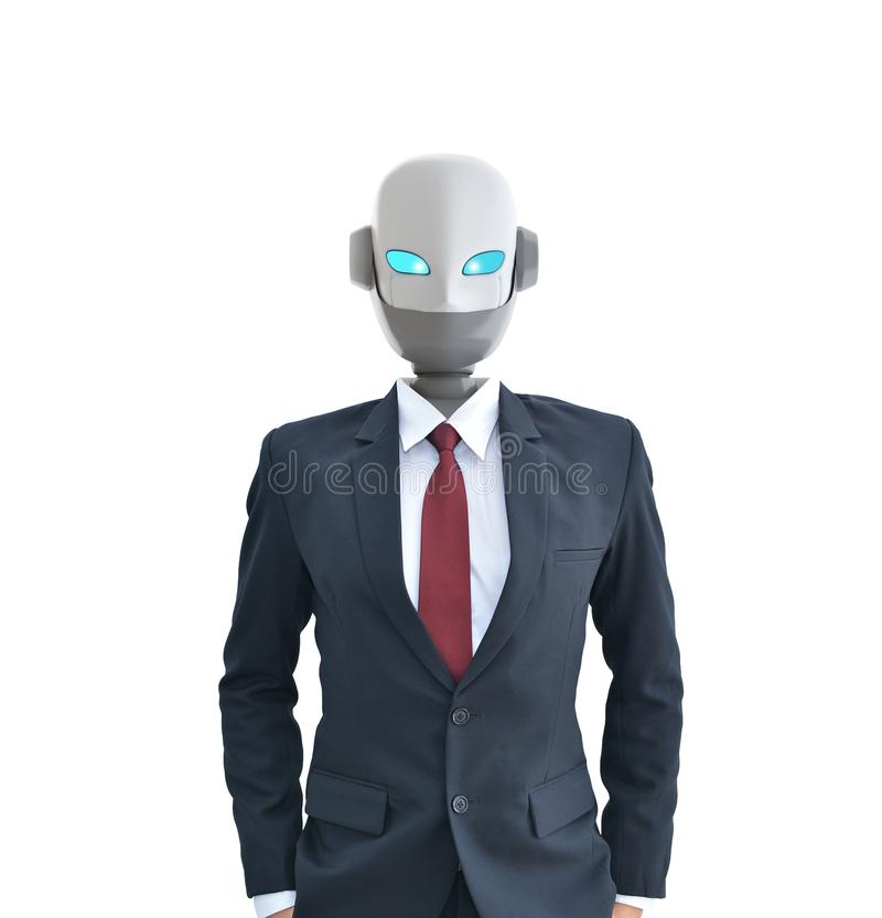Robot wear a suit isolated on white, artificial intelligence royalty free illustration