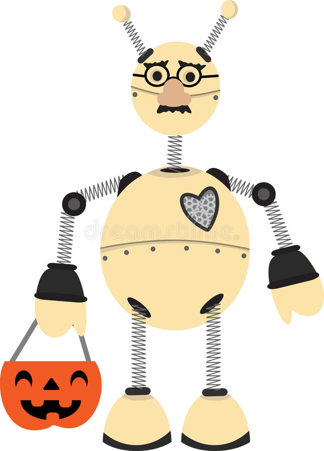 Robot Wearing Groucho Glasses Halloween Costume Royalty Free Stock Photo