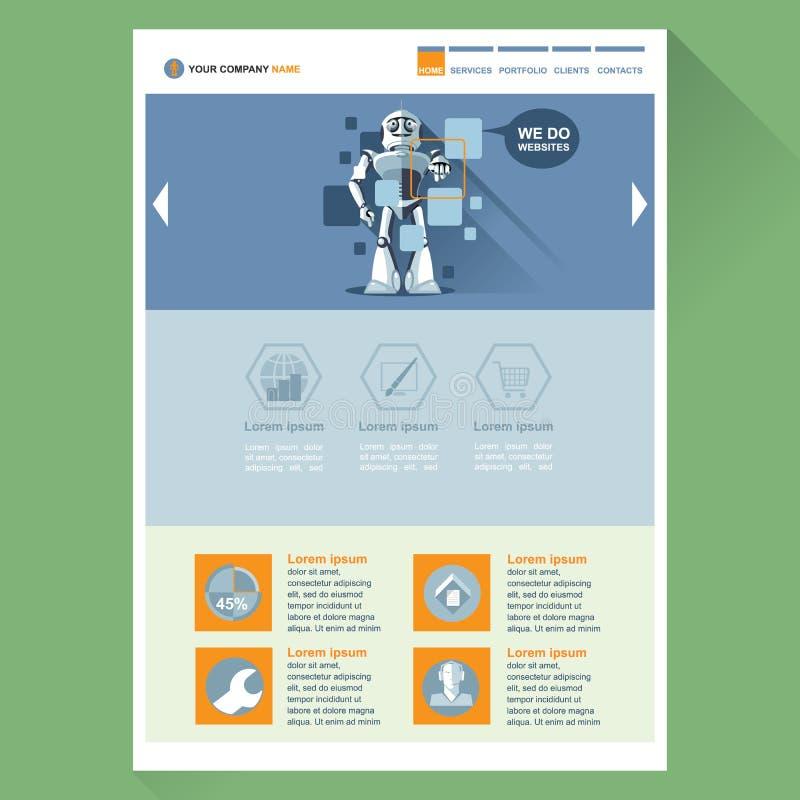 Robot web site theme layout. Digital background vector illustration vector illustration