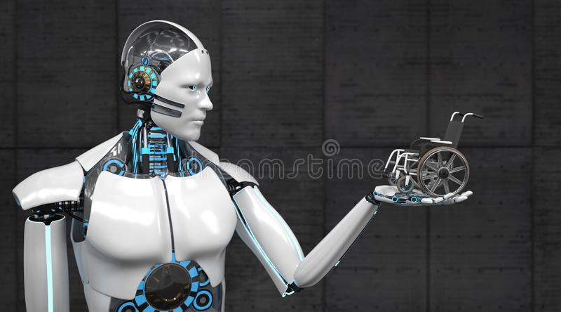 Robot Wheel Chairs stock illustration