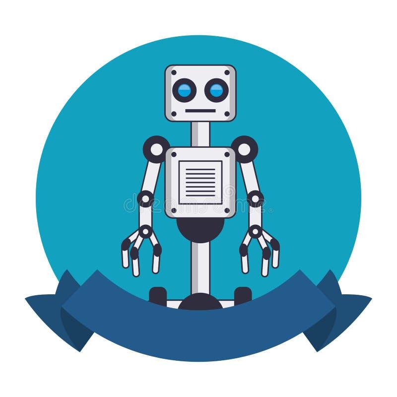 Robot with wheels round emblem vector illustration