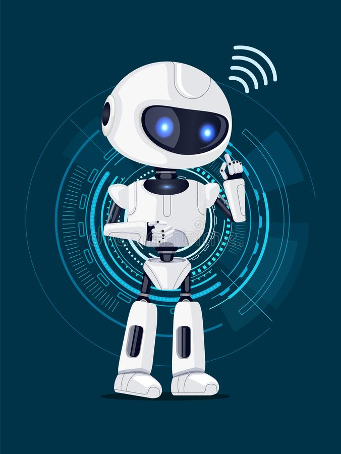 Robot and Interface Poster Vector Illustration. Robot of white color and shining eyes with icon meaning connection and interface with circles on background royalty free illustration