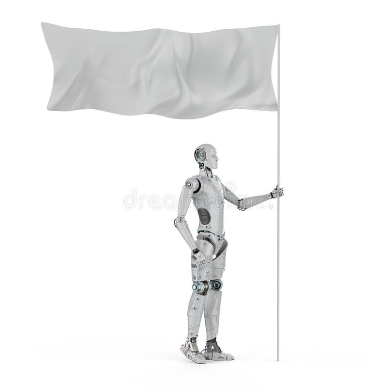 Robot with white flag. 3d rendering robot hold white flag with pole royalty free illustration